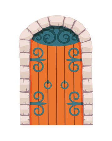 Fairytale door medieval. Element of medieval castle or fortres. Wooden portal with stone arch, forged metal hinges. Vector cartoon gate isolated on white background Stock Illustratie