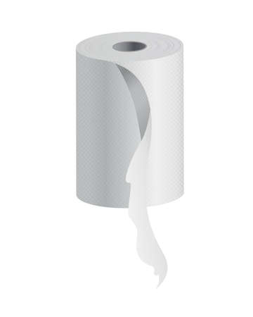 Realistic toilet paper or kitchen towel roll template mockup. Blank white 3d object. Kitchen wc whute tape paper