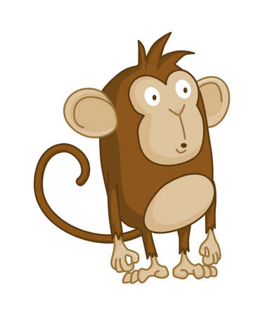 Cute funny monkey colorful cartoon illustration. Vector little chimpanzee. Wildlife character. Ape stands and wonders