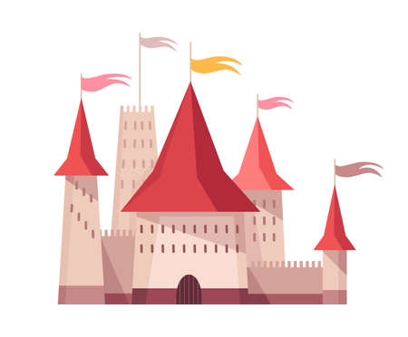 Medieval kingdom character. Fairy-tale castle of middle ages historic period. Vector building exterior design Stock Illustratie