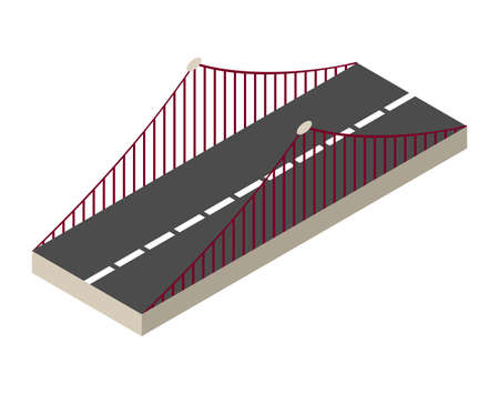 Vector isometric bridge icon. 3d isolated drawing element of a modern urban infrastructure for games or applications. City transport organization object, road crossing, construction architecture