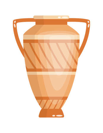 Greek vase in ancient style as template for Interior. Greece culture ceramic urn in traditional color and form. Vector greek antiquity amphora Stock Illustratie