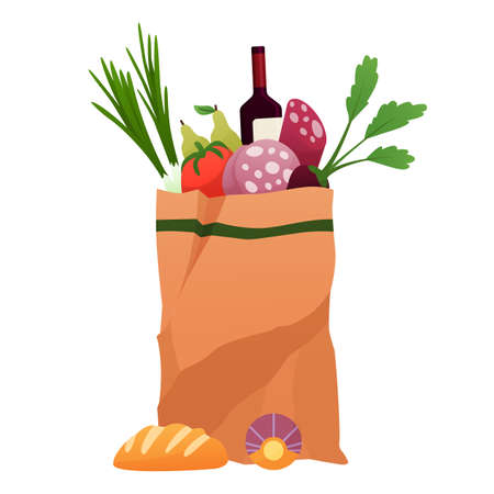 Paper shopping bag products grocery. Vegetables, bread, vine and meat. Grocery supermarket. Fresh healthy produce. Grocery delivery concept