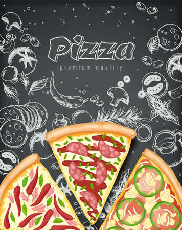 Color pizza poster. Savoury pizza ads with 3d illustration rich toppings dough on engraved style chalk doodle background. Vector banner for cafe, restaurant or food delivery service. Top view