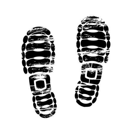 Pair footprints human shoes silhouette. Shoe soles print. Vector footstep icon, isolated foot stamp on white background Stock Illustratie