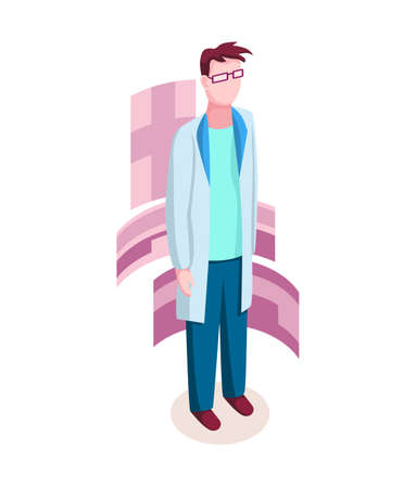 Medicine researcher isometric. Doctor considers the results of research. Isometric vector illustration kit with people character Stock Illustratie