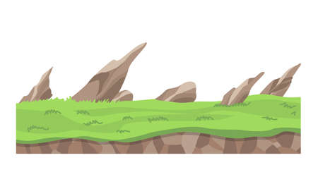 Game landscape. Cartoon design nature. Landscape of soil section. Illustration of cross section ground slice isolated on white background