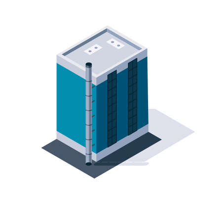 Factory isometric. Industrial bulding. 3d isolated icon. Concept of industrial working plant with chimney tower