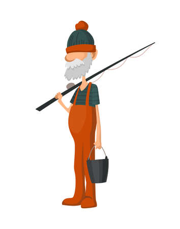 Fisherman fishing with fishing rod. Fishing people with fish and equipment. Vacation concept flat vector icon. Leisure and hobby catching fish