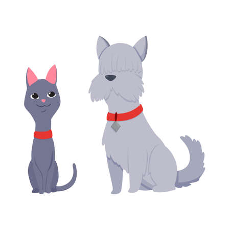 Cats and dog characters best happy friends. Together sitting isolated on white background. Funny flat cartoon colorful friendship pets. Vector illustration Stock Illustratie