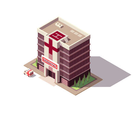 Isometric hospital or ambulance building mockup with signage, helicopter pad and transportation or ambulance van for first aid. Vector flat isolated infographic city element Stock Illustratie