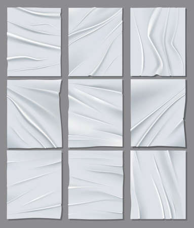 Collection realistic white sheets of crumpled paper. Vector posters mockup. Vector illustration of wrinkled papers texture. Background templates