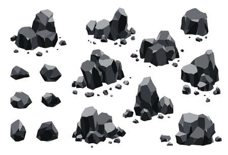 Collection of coal black mineral resources. Pieces of fossil stone. Polygonal shapes set. Black rock stones of graphite or charcoal. Energy resource charcoal icons