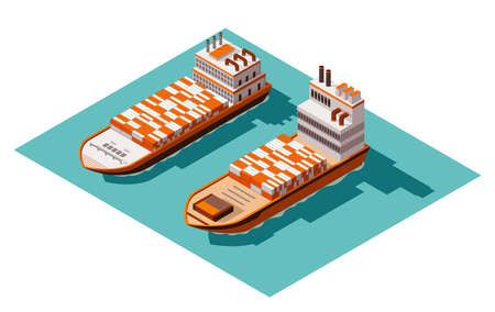 Isometric container cargo ship. Delivery on water. Shipping freight transportation. Vector isometric icon or infographic element. Ocean transport