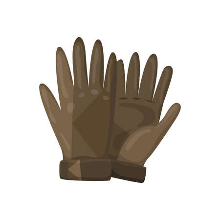 Winter gloves or leather mittens for men as handwear in winter or autumn season. Vector design symbols for web isolated on a white background
