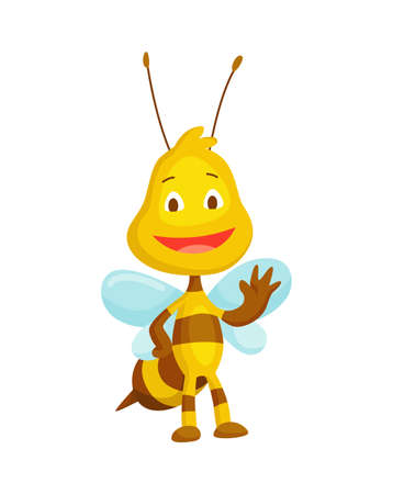 Cartoon bee insect. Character of happy fly illustration. Cute honey harvester character for kids. Smiley animal