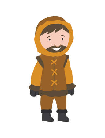 North pole arctic people. Polar man vector illustration in flat style. Life in the north. Clothes for arctic winter