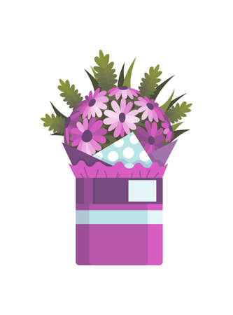 Flowers bouquet. Floral gift for wedding or holiday concept. Design element for greeting card or postcard. Flat colorful vector illustration isolated on white