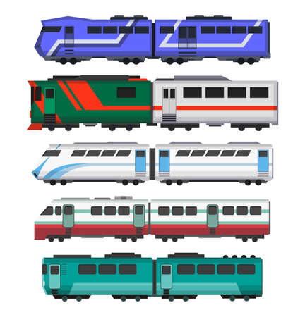 Passenger express trains. Railway carriages. Cartoon set of subway or high speed trains. Vector icons for web design or game scene Stock Illustratie