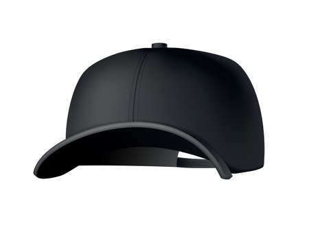 Baseball cap. Realistic baseball cap template front view. Empty mockup sport hat. Black blank cap isolated on white background. Blank template of baseball uniform cap