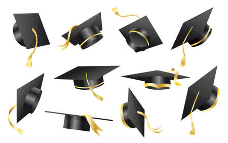 Graduation caps. Elements for degree ceremony and educational programs design. Graduation university or college black hats cover. Academic caps set. High school student caps on white background