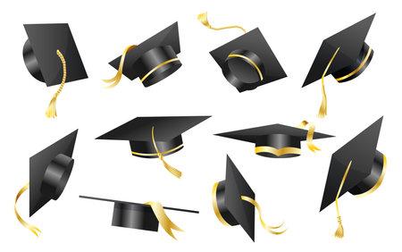 Graduation caps. Elements for degree ceremony and educational programs design. Graduation university or college black hats cover. Academic caps set. High school student caps on white background Stock Illustratie