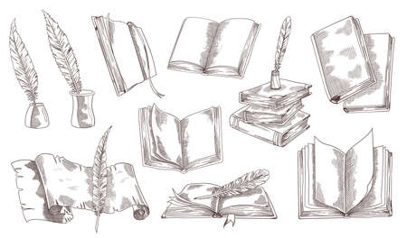 Hand-drawn vintage books. Sketch old school literature. Books, paper scroll quill pen and ink. Library design in vintage style. Vector illustration