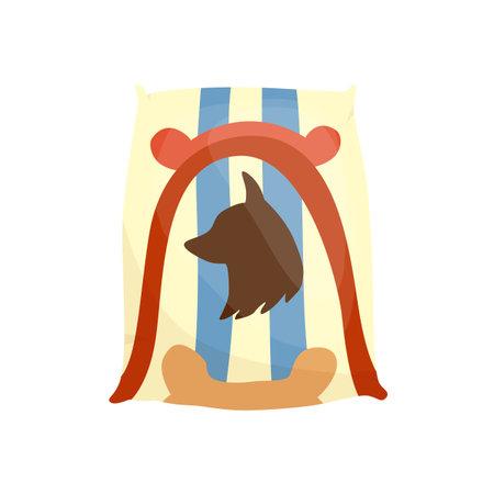 Pet shop icon. Dog pillow. Pet accessory. Vector illustration in flat style clip art. Petshop supermarket Stock Illustratie