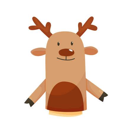 Hand or finger puppets play doll deer. Cartoon color toy for children theater, kids games. Vector cute and funny animal character, isolated icon on white background
