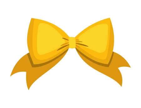 Gold bow. Cartoon vector yellow luxury design element of wrap pack. Satin bow with ribbon isolated on white background
