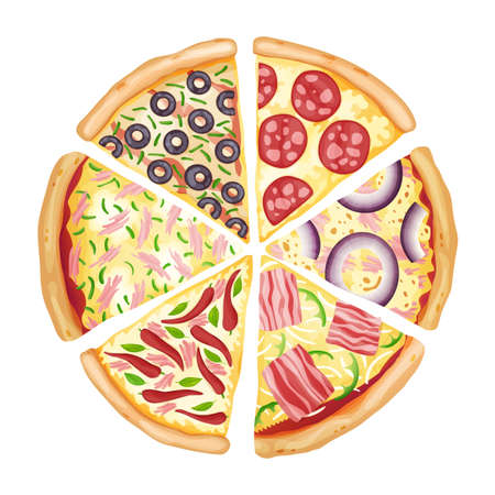 Color pizza top view. Savoury pizza ads with 3d illustration rich toppings dough. Colorful and tasty vector banner for cafe, restaurant or food delivery service Stock Illustratie
