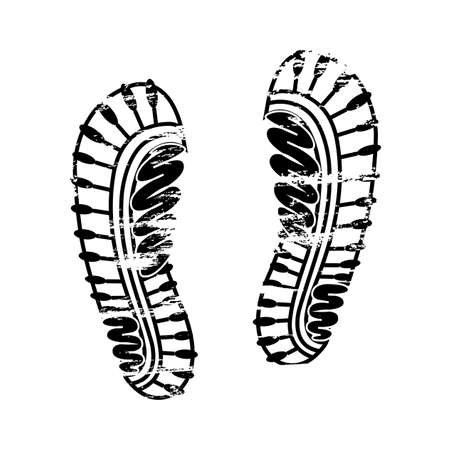 Pair footprints human shoes silhouette. Shoe soles print. Vector footstep icon, isolated footstamp on white background Stock Illustratie