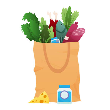 Paper shopping bag products grocery. Different food and beverage products, grocery shopping. Grocery supermarket. Fresh organic food and drinks. Grocery delivery concept Stock Illustratie
