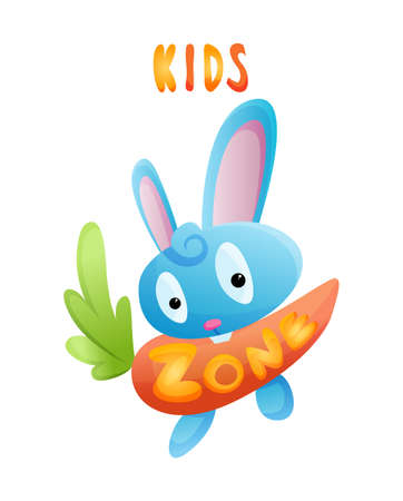 Kids zone. Toys fun playing zone. Playroom banner in cartoon style for children play zone. Children playground game room or play area poster. Children games party center Stock Illustratie