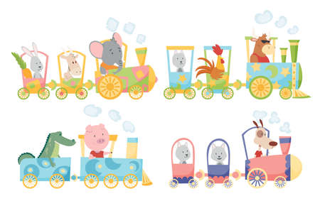 Funny animals in locomotive. Cute animals riding a colorful train. Little rabbit, dog, goat, wolf, crocodile, bull, cock, pig, elephant ride on a toy locomotive
