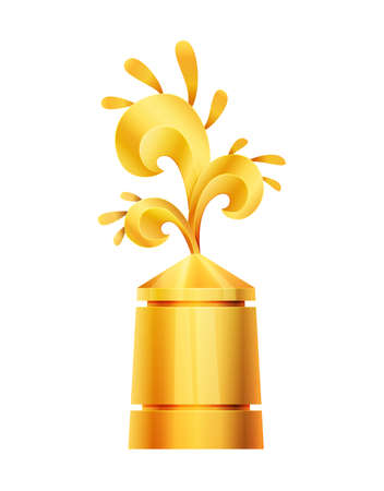Award or trophy cup. Triumph sport prizes on first place, winner trophy gold cup illustration. Best competition achievement. Awards with wave shape