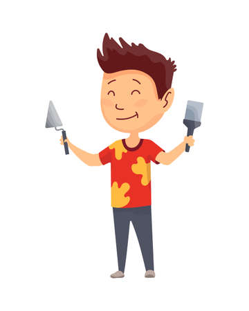 Kid builder. Little worker. Children with spatula and trowel, making job. Funny kid ready for repair work
