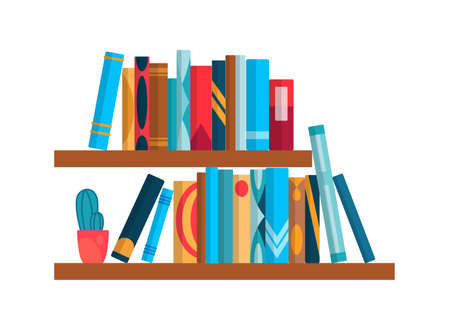 Bookshelf with colorful books. Flat reading books illustration isolated on white background. Back to school and education study wall concept. Library interior element Ilustração