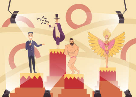 Television show with cabaret singer or brazilian showgirl, bodybuilder shows biceps, young performer and illusionist who shows tricks with playing cards. Cartoon characters in the spotlight on stage