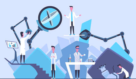Scientists in laboratory. Males in lab concept who making research. People in white coat, chemical or technical researchers with laboratory equipment. Concept design of specialists working Ilustração