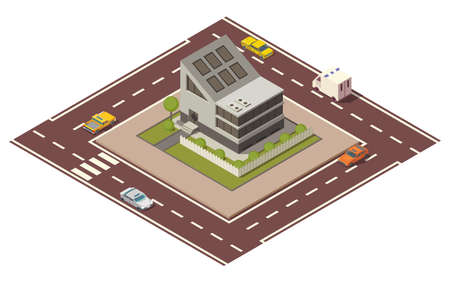 Isometric cottage. Building of private real estate for infographics or game design. Home with road and cars around it. Infographic element representing suburban building