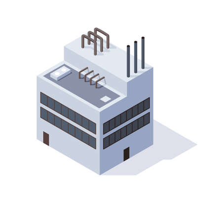 Factory isometric. Architecture of manufactures house. Concept of industrial working plant with chimney tower