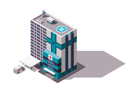 Isometric hospital or ambulance building mockup with signage, helicopter pad and transportation or ambulance van for first aid. Vector flat isolated infographic city element