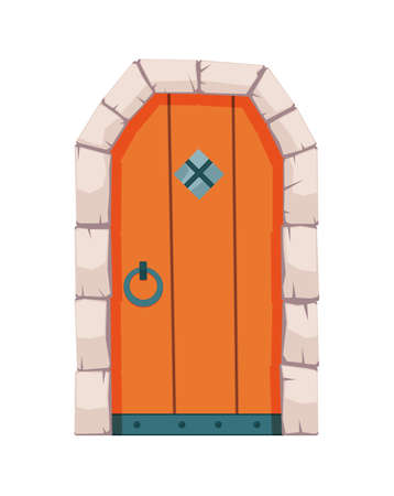 Fairytale door medieval. Element of medieval castle or fortres. Wooden portal with stone arch, forged metal hinges. Vector cartoon gate isolated on white background Ilustração
