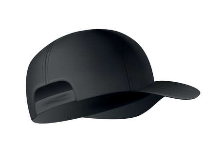 Baseball cap. Realistic baseball cap template side view. Empty mockup sport hat. Black blank cap isolated on white background. Blank template of baseball uniform cap Ilustração