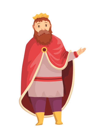 Medieval kingdom character of middle ages historic period vector Illustration. King with crown and royal robes