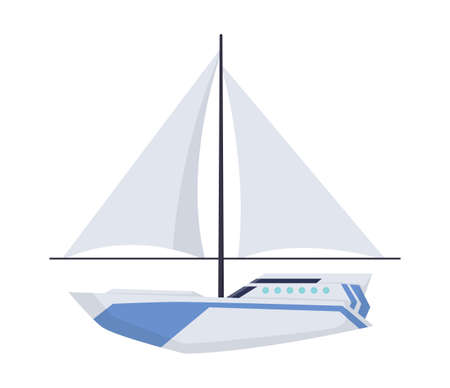 Water sailboat. Ship boat side view isolated on white background. Old ship with sail, for ocean water. Isolated transport icon