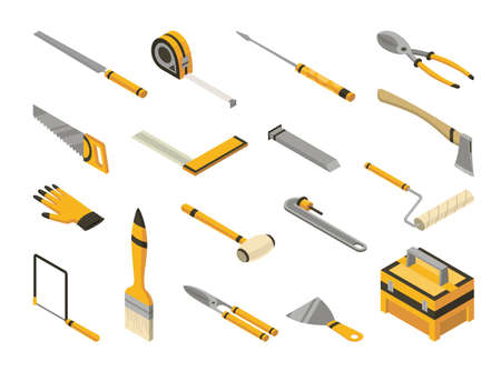 Set of isometric hand tools. Detailed icons of tools for handyman repair. Vector equipment kit of builder instrument. Tool supplies for house repair on white background Ilustração