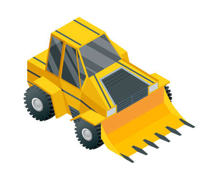 Construction machinery isometric. Heavy transportation. Icon representing heavy mining and road industry. Career and construction transport