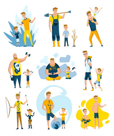 Collection of fathers who spend time with sons. Dads and sons happy family concept. Fatherhood flat cartoon vector illustration. Outdoor activity